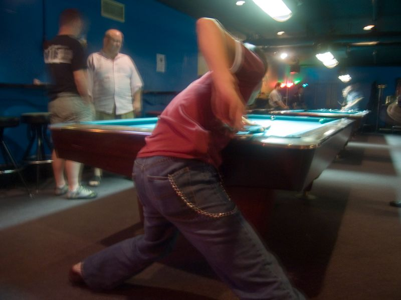 jason's famous pool stance, atomic billiards, cleveland park - this photo appeared in the Blog City feature of the Washington Post Sunday magazine on December 25th 2005.
